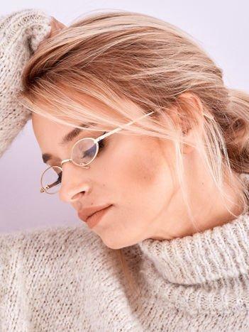 BLOGERKI Złote Podłużne Okulary Zerówki
