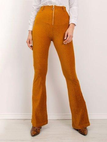 BSL Camelowe spodnie flare