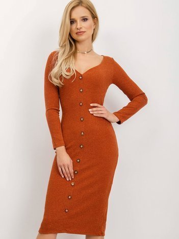 BSL Ceglasta sukienka z guzikami