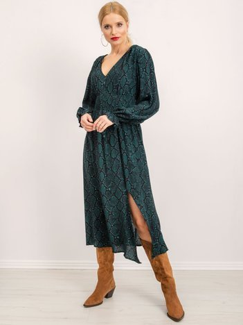 BSL Ciemnozielona sukienka we wzór