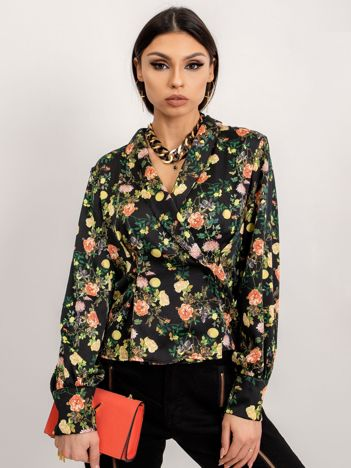 BSL Czarna bluzka w kwiaty