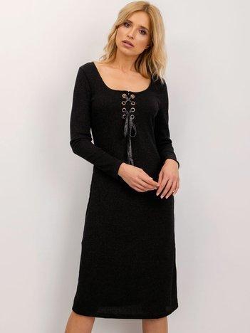 BSL Czarna sukienka ze sznurowaniem