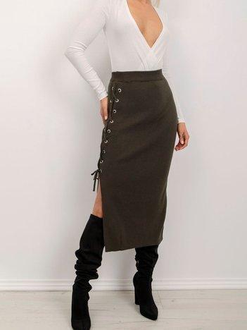 BSL Khaki spódnica ze sznurowaniem