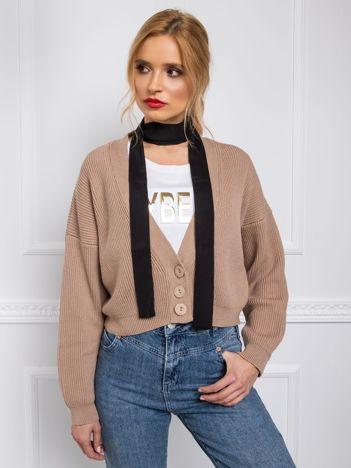 BY O LA LA Beżowy sweter z wiązaniem
