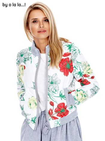 BY O LA LA Biała pikowana kurtka w kwiaty