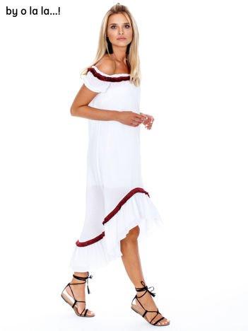 BY O LA LA Biała sukienka hiszpanka z frędzelkami