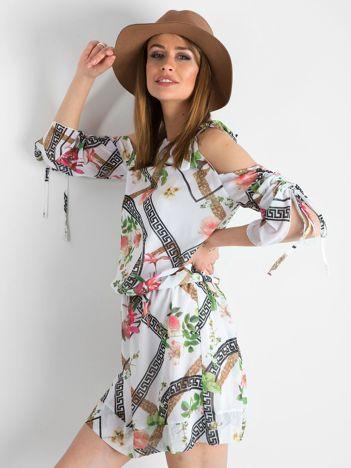 BY O LA LA Biała wzorzysta sukienka z wycięciami