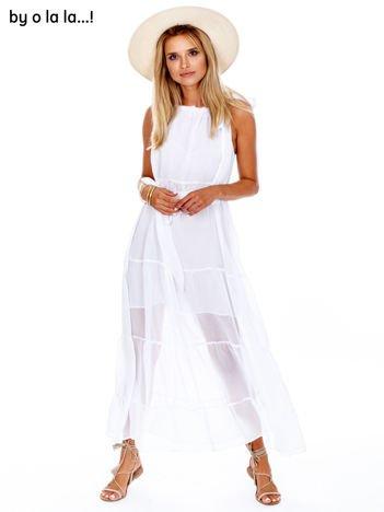 BY O LA LA Biała zwiewna sukienka z wiązaniem