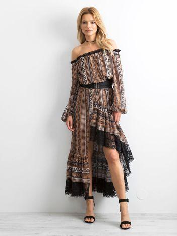 700cc72936 BY O LA LA Brązowa asymetryczna sukienka