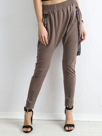 BY O LA LA Brązowe spodnie dresowe