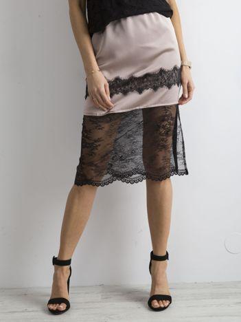 BY O LA LA Ciemnobeżowa spódnica midi z koronką