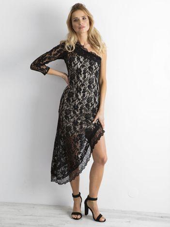 BY O LA LA Czarna koronkowa asymetryczna sukienka