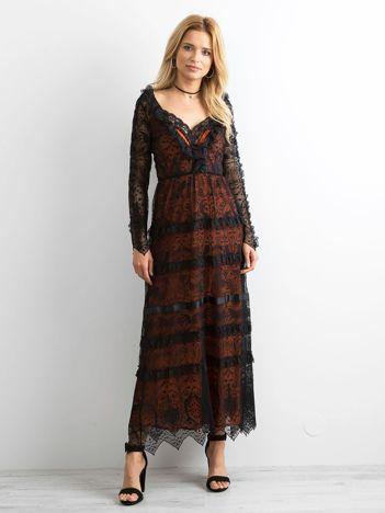 67a2e8b1c6 BY O LA LA Czarna sukienka maxi z koronki