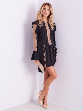 BY O LA LA Czarno-beżowa sukienka z falbankami i koronką