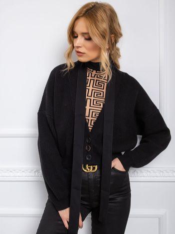 BY O LA LA Czarny sweter z wiązaniem