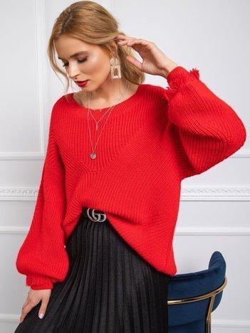 BY O LA LA Czerwony sweter damski