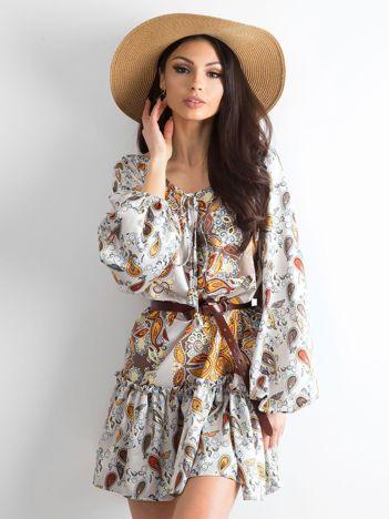 BY O LA LA Jasnobeżowa sukienka we wzory