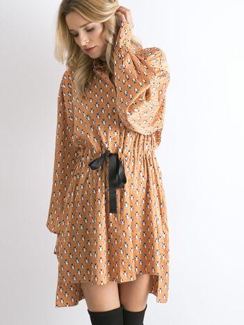 BY O LA LA Jasnopomarańczowa sukienka we wzory