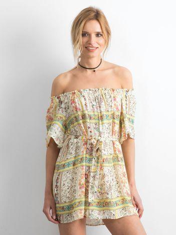 f838cc9ce8 BY O LA LA Jasnożółta sukienka hiszpanka w kwiaty