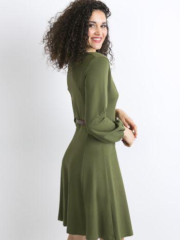BY O LA LA Khaki rozkloszowana sukienka