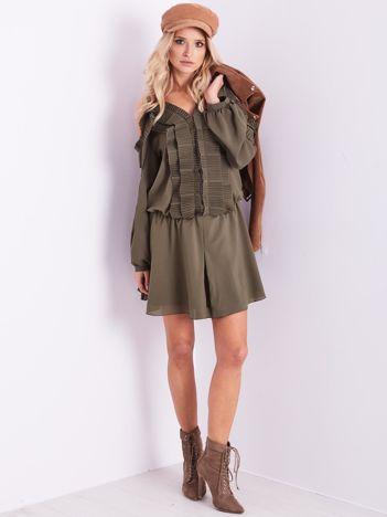 BY O LA LA Khaki sukienka cut out z plisowanym żabotem