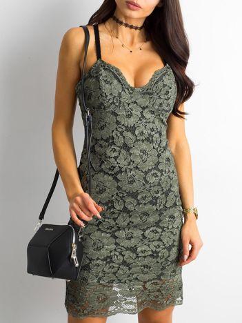 BY O LA LA Khaki sukienka koronkowa