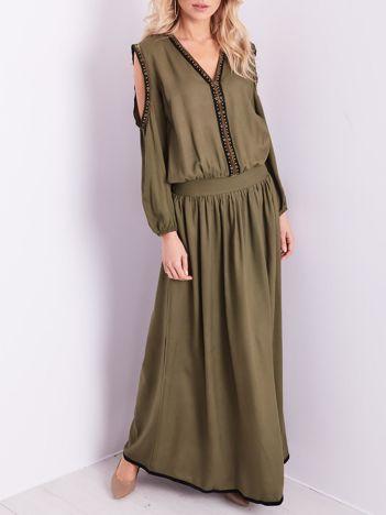 BY O LA LA Khaki sukienka maxi z wycięciami na ramionach