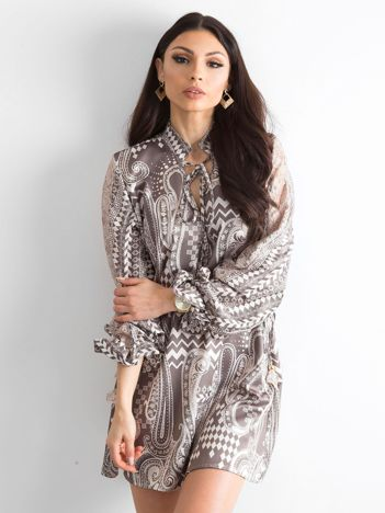 BY O LA LA Khaki sukienka we wzory