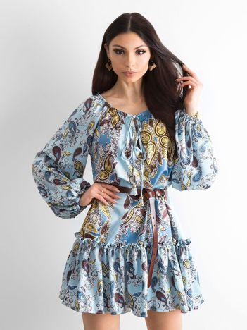 BY O LA LA Niebieska sukienka we wzory