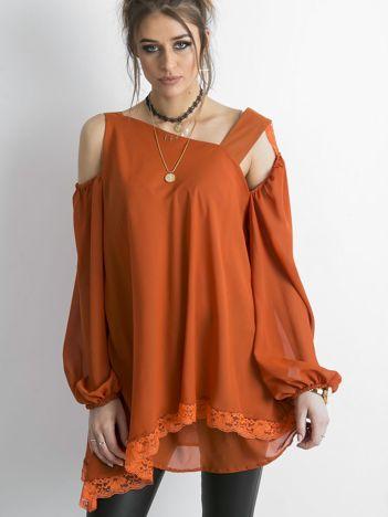 BY O LA LA Pomarańczowa tunika z asymetrycznym dekoltem