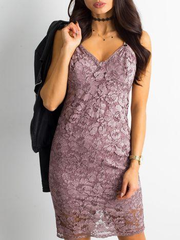 BY O LA LA Różowa sukienka koronkowa