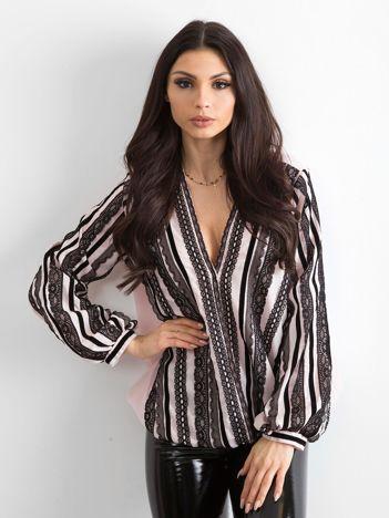 BY O LA LA Różowo-czarna bluzka z koronką
