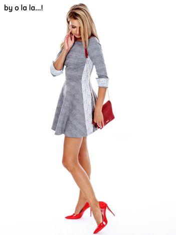 BY O LA LA Szara rozkloszowana sukienka w kratkę
