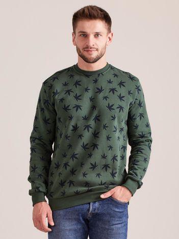 Bawełniana bluza męska z nadrukiem khaki