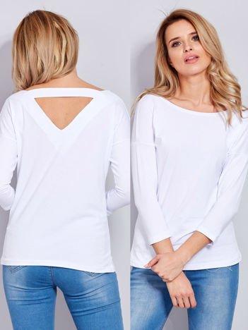 Bawełniana bluzka z trójkątnym dekoltem z tyłu biała