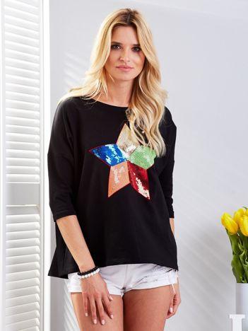 Bawełniana czarna bluzka oversize z cekinową gwiazdą