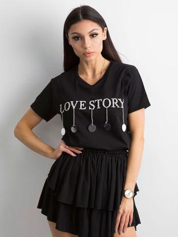 Bawełniana damska koszulka z aplikacją czarna