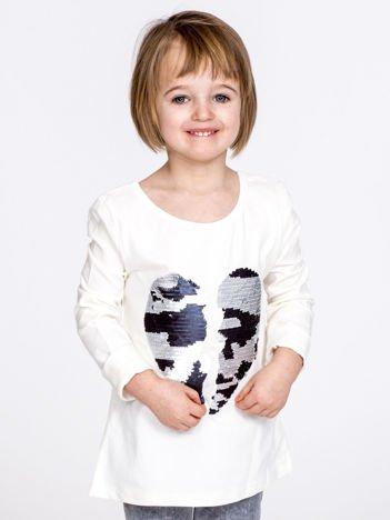 Bawełniana ecru bluzka dziewczęca z cekinowym sercem