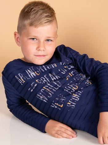 Bawełniana granatowa bluzka dziecięca z nadrukiem tekstowym