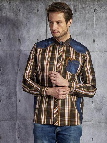 Bawełniana koszula męska country w kratę brązowa