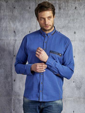 Bawełniana koszula męska z zamszowymi wstawkami niebieska