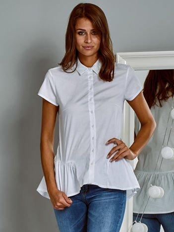 Bawełniana koszula z baskinką biała