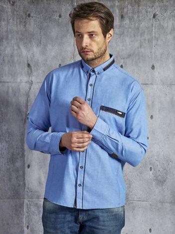 Bawełniana męska koszula z kieszenią niebieska