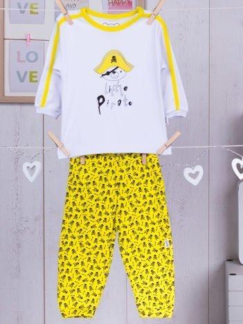 Bawełniana piżamka dziecięca LITTLE PIRATE żółto-biała