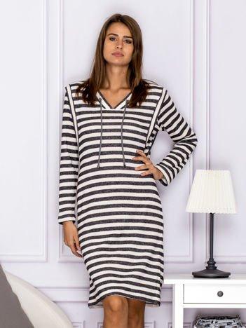 Bawełniana sukienka w paski ze sznurowaniem szara