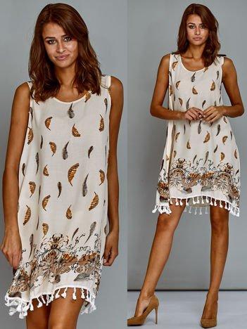 Bawełniana trapezowa sukienka letnia w pióra beżowa
