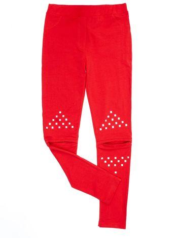 Bawełniane czerwone legginsy dziewczęce z wycięciami na kolanach
