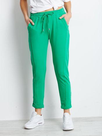 Bawełniane dresowe spodnie zielone