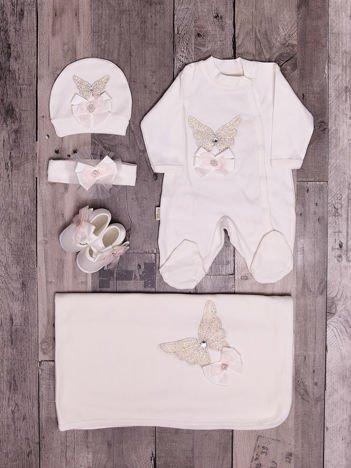 Bawełniany ecru zestaw niemowlęcy 5-elementowy z motylem