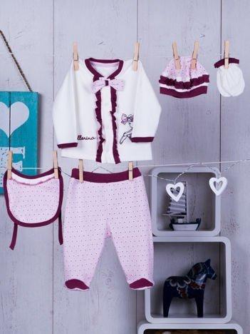 Bawełniany komplet niemowlęcy dla dziewczynki ecru-różowy